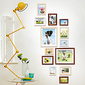 创意相片DIY实木13框竖款照片墙混搭相框组合墙定制免费洗照片