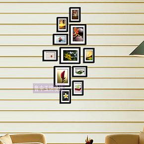 竖版门厅照片墙 组合 创意相片墙 实木相框墙组合加厚款