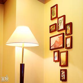 森朴 9框实木照片墙玄关书房楼梯口竖形创意组合 相片墙相框墙