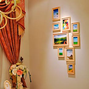全悦 实木照片墙 玄关相框墙 欧式竖款相框组合 相片墙 9SM531x