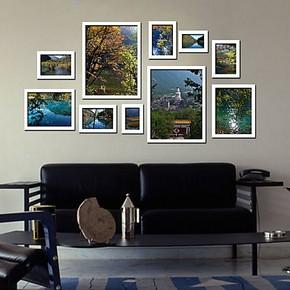 包邮照片墙大相框组合10框加宽加厚照片墙客厅沙发背景墙盛夏