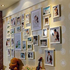 超大实木白色照片墙相框组合 创意婚纱相片墙 客厅沙发背景墙包邮