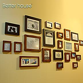 百特好实木照片墙欧式23框创意相片墙相框组合相框墙SH-2301