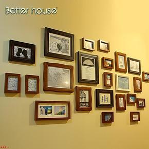 百特好 实木照片墙欧式 23框创意相片墙相框组合相框墙SH-2301