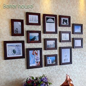 百特好照片墙 欧式地中海实木相框墙包邮 创意组合相框墙高档奢侈
