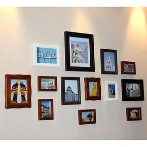 包邮百特好 照片墙相框墙 组合创意 奢爱S款 13框 欧式实木相片墙