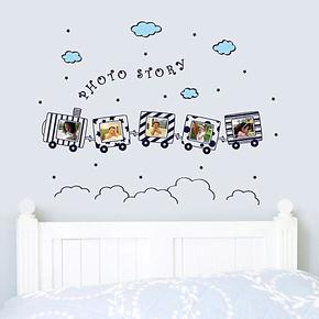 小火车相框墙贴 照片墙贴 卡通墙贴儿童房照片贴 儿童卧室墙贴纸