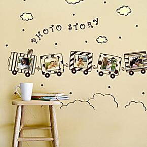 童年的小火车- 照片墙贴壁纸 学校宿舍儿童房幼儿园影楼背景装饰