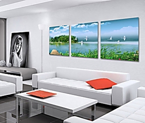 室内装饰画客厅现代简约三联画客厅挂画办公室装饰画壁画西湖美景