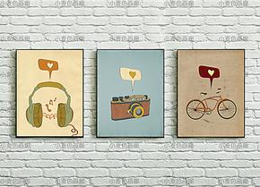室内装饰挂画壁画贴画KT 极简风格个性海报我爱音乐照相自行车
