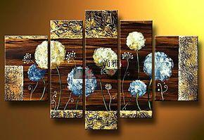 纯手绘油画 现代客厅抽象装饰画卧室无框画墙面壁画挂画墙画五联