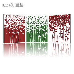 百谷 三联无框装饰画组合 现代墙面挂画 高档彩色客厅壁画X-20