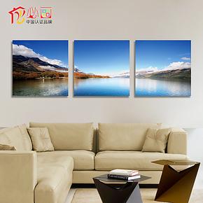 餐厅墙面装饰画现代简约客厅背景墙画壁画挂画 三连画无框画中式
