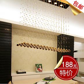 金色水晶客厅灯简约现代水晶灯 餐厅灯餐吊灯 吊线水晶灯珠帘吊灯
