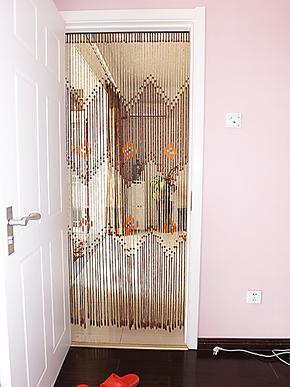 木帘加密款挡蚊子隔断帘遮羞风水木珠帘 客厅卧室防盗门帘子 A655