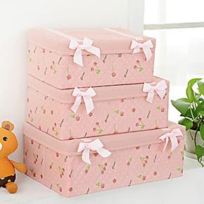 粉色樱桃三件套公主化妆盒有盖内衣收纳盒 大号衣物收纳箱储物箱