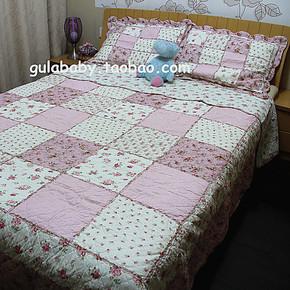 出口外贸 田园 纯棉水洗衍缝被 三件套 空调被 夏凉被 床盖 床垫