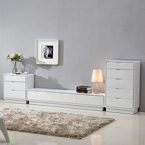 电视柜简约组合纯白色烤漆特价促销宜家视听柜1.8米二三四五斗柜