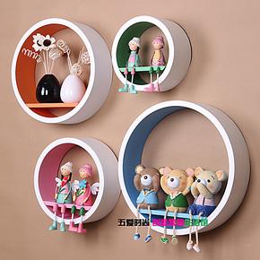 创意壁挂壁柜 墙上装饰 置物架 壁柜 搁板隔板宜家 圆形4件套