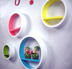 彩色创意圆形柜置物架墙壁架搁板隔板壁挂装饰壁架电视背景墙包邮