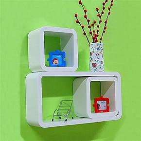 烤漆品字三件套创意格子架墙上搁板置物架电视挂柜简约壁挂装饰架