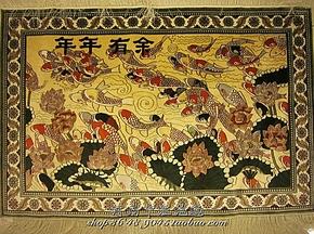 《年年有余》手工真丝挂毯 91*60厘米 真丝壁毯