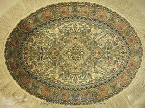 椭圆高档手工真丝挂毯 45.8*61厘米 高档礼品艺术 真丝壁毯