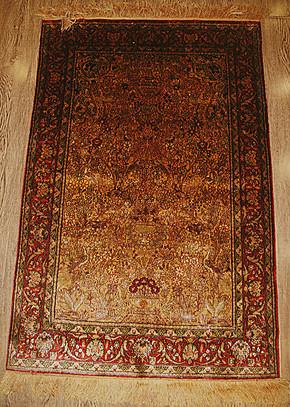 生命树手工真丝地毯2.5x4 波斯地毯76x122cm 复古收藏真丝挂毯
