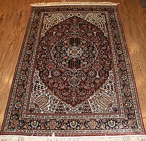 91*153cm纯手工真丝波斯地毯400道真丝挂毯/壁毯3x5书房客厅壁挂
