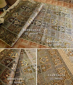 尼泊尔特色纯手工真丝卧室 客厅 厨房波斯真丝地毯 地垫 挂毯