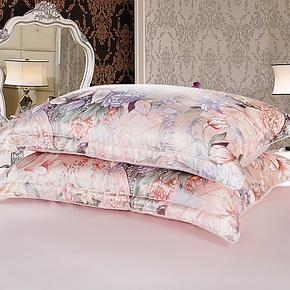依纱贝拉 真丝枕套 100%双面真丝枕头套 真丝提花枕套 一对装