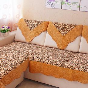 豹纹布艺真皮沙发垫坐垫 靠背巾欧式毛绒沙发垫绗缝抱枕套厚 特价