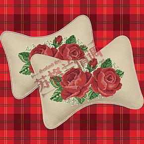 十字绣车枕套护颈枕头靠枕靠垫车载汽车用骨头枕旅行枕新款玫瑰花