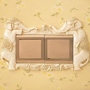 百象欧式复古对树脂插座双开 开关贴 墙贴套 卡通  特价 2个包邮