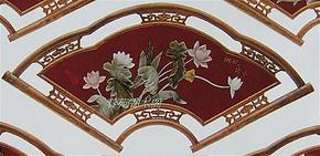 仿古红木框扇形客厅玉画天然玉石壁画扇形湘妃出水玉画玉屏风