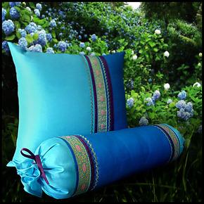 地中海风格沙发床头罗汉床用糖果枕靠枕抱枕含芯套蓝色榻榻米布艺