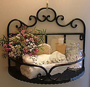 欧式 铁艺 浴室置物架 庭院装饰壁挂架 浴室物品架 洗浴收纳架