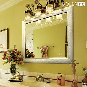 BOLEN 浴室镜卫浴卫生间浴室柜镜子防雾银镜方形现代田园简欧0030