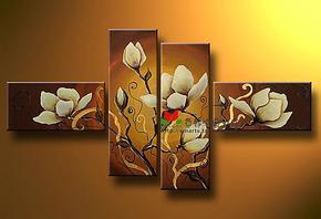 手绘油画花卉装饰画客厅酒店别墅艺术配画中式风格挂画卧室壁画