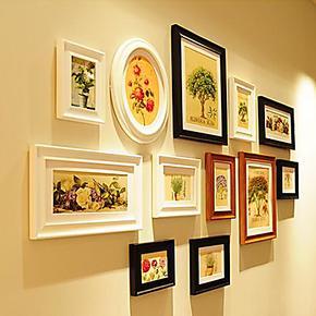 欧式12框 客厅纯实木照片墙相片墙贴创意组合 欧式相框墙画框包邮