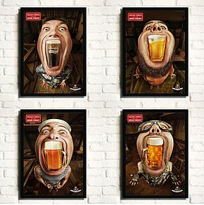 个性创意啤酒咖啡店挂画 酒吧挂画KTV有框画装饰画 现代餐厅壁画