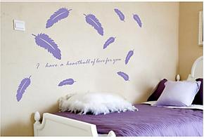 装潢装饰/宾馆/办公室羽毛、羽毛墙贴纸 卧室、床头、壁纸/壁画