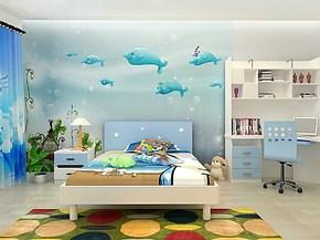 塞拉维大型壁画电视背景墙纸 卡通儿童房间海豚壁纸男孩卧室背景