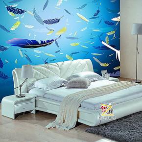 锐之颖新款大型壁画室内墙纸卧室欧式餐厅电视背景墙壁纸蓝色羽毛