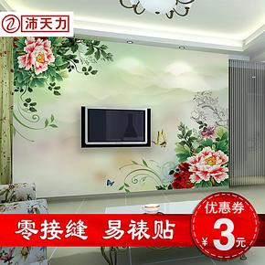 沛天力电视背景墙纸壁纸大型壁画墙田园婚房卧室客厅新中式花鸟
