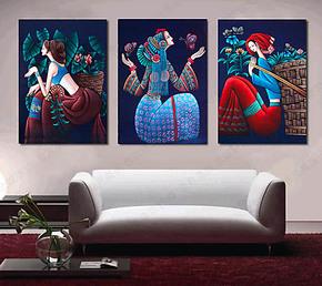 民族少女酒店装饰画 餐馆饭店壁画 卧室挂画 水晶无框画云南民族
