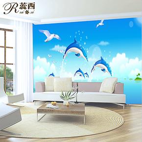 蕊西卧室电视背景墙壁纸 可爱海豚蓝色大型壁画 防水PVC自粘墙纸