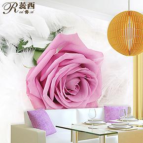 蕊西卧室电视背景墙纸壁纸 浪漫粉色大玫瑰羽毛大型壁画 防水墙布