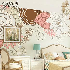 蕊西卧室加厚背景墙纸壁纸 简约现代温馨大型壁画 自粘防水墙壁纸
