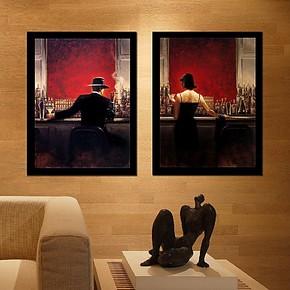 酒吧装饰画 壁画酒店餐厅饭厅吧台挂画 现代简约人物有框画 打折